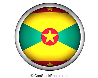 National Flag of Grenada, button style