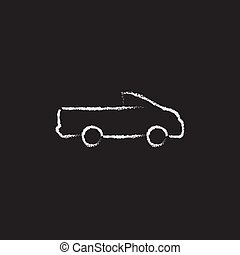 Pick up truck icon drawn in chalk - Pick up truck hand drawn...