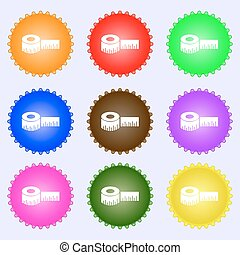 Roulette construction icon sign. A set of nine different colored labels. Vector
