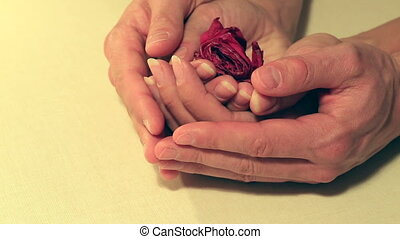 Gentle hugs male hands revive love in the womans soul -...