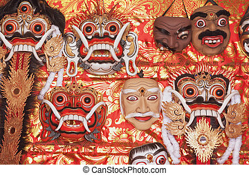 Traditional Balinese Rangda and Topeng show masks -...