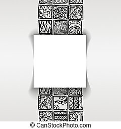 Patterned background in the style of Maya with Sticker