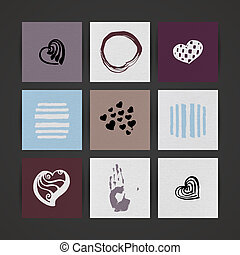 Set of Nine Creative Paper Cards Hand Drawn Ink Textures...