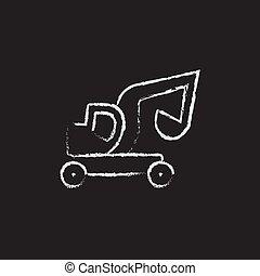 Excavator truck icon drawn in chalk.