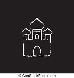 Orthodox church icon drawn in chalk. - Orthodox church hand...