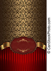 Red and gold vintage background with frame.