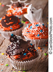 Delicious Halloween cupcakes decorated with frosting