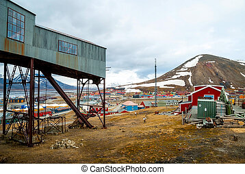 Abandoned cablecar station used for coal transportation,...