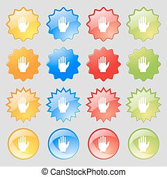 Hand print sign icon Stop symbol Big set of 16 colorful...