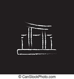 Torii gate icon drawn in chalk. - Torii gate hand drawn in...