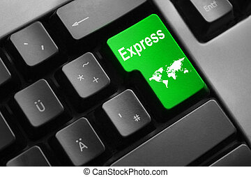 grey keyboard with green enter button express - dark grey...