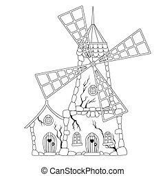 Coloring book: Abandoned windmill