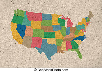 United States map on old paper