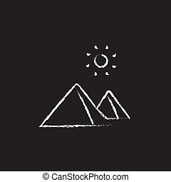 Egyptian pyramids icon drawn in chalk. - Egyptian pyramids...