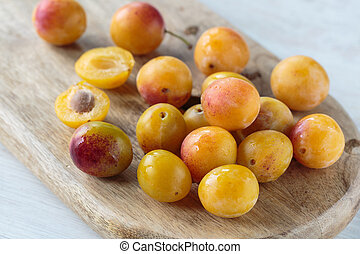 Mirabelle plums - Bunch of fresh sweet Mirabelle plums