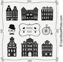 Vector Vintage Old Styled Houses Black Shapes Icons