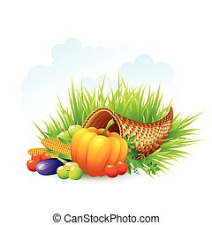 Thanksgiving Card wicker basket background. Vector illustration