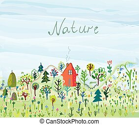 Nature background with trees and grass for tourism