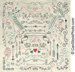 Sketched Rustic Floral Design Elements on Crumpled Paper
