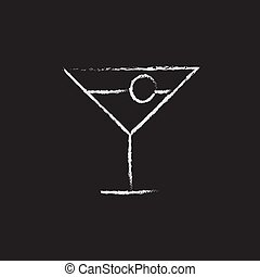Cocktail glass icon drawn in chalk. - Cocktail glass hand...