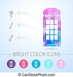 Vector watercolor icon - Vector watercolor telephone box...