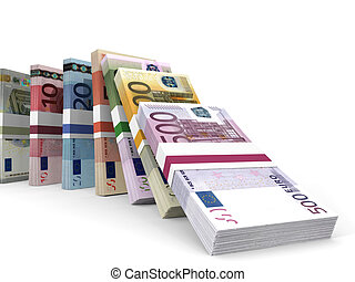 Different Euro bank notes. 3D illustration.