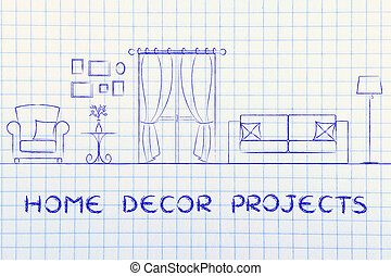 home decor projects: illustration of room with furniture and...