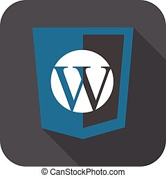 vector web development shield sign - php site content managment system W letter. isolated icon on white