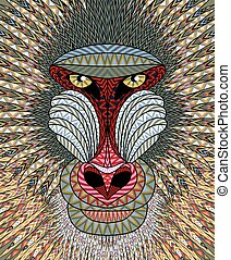 Mandrill monkey head. Artistic illustration of animal...