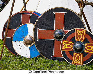 Old viking wooden shields - Old traditional painted viking...