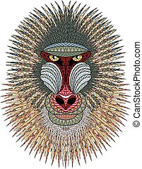 Mandrill monkey head Artistic illustration of animal...