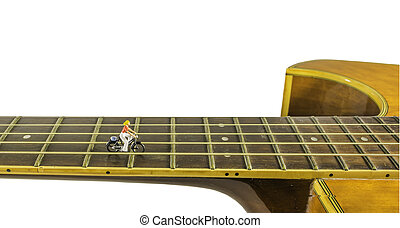 image of musician on the guitar line means the road to...