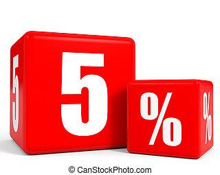 Red sale cubes Five percent discount 3D illustration