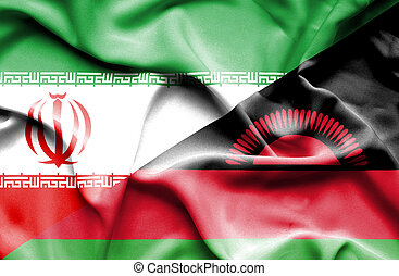 Waving flag of Malawi and Iran