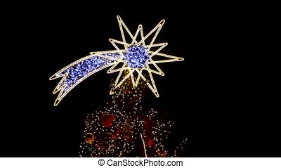 Star Shaped Christmas Decoration and Lights outdoors