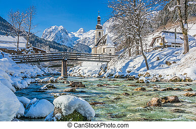 Winter landscape in the Bavarian Alps with church, Ramsau,...