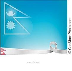 nepal flag on sky background