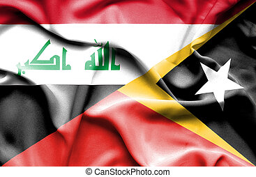 Waving flag of East Timor and Iraq