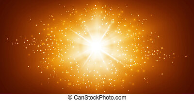 Panoramic starlight - Shiny gold background with star light...