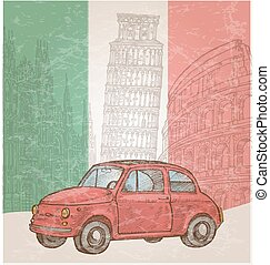 italy car - italian background with symbol element