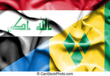 Waving flag of Saint Vincent and Grenadines and Iraq