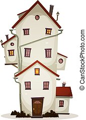 Funny Big House - Illustration of a cartoon high big funny...
