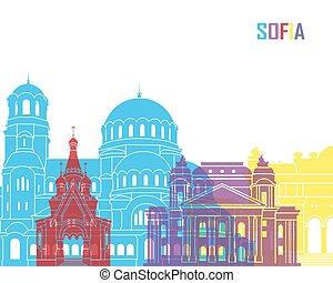 Sofia skyline pop in editable vector file