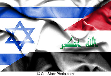 Waving flag of Iraq and Israel