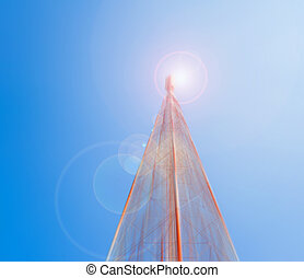 image of Tele-radio tower with blue sky for background usage...