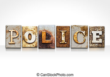 Police Letterpress Concept Isolated on White - The word...