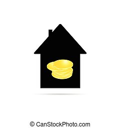 house with coin vector