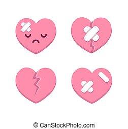 Broken hearts - Set of cartoon broken hearts with cracks and...