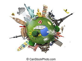 Travel - Small planet with landmarks around the world