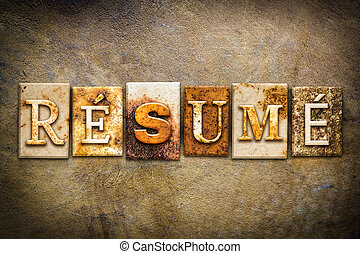 """Resume Concept Letterpress Leather Theme - The word """"RESUME""""..."""